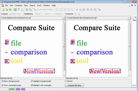 Compare jpg files with Compare Suite