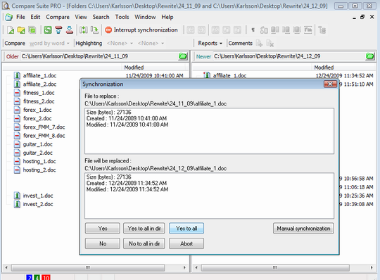 Compare Suite can perform tasks of directories sync