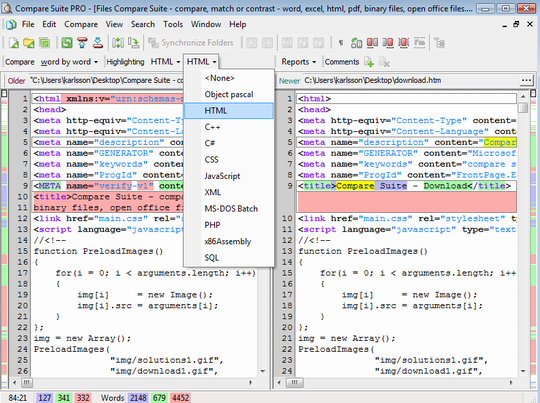 The source code of two HTML pages is compared. Compare Suite can also compare browser view of webpages.