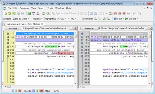 Compare webpage code