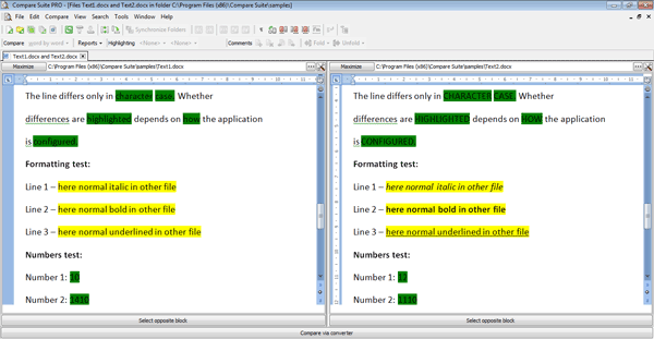 Compare two Word documents with formatting